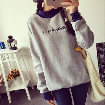Women's Autumn velvet loose long Sleeve round-necked Sweatshirt T-Shirt a13905