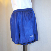 Vintage 70s WORK OUT Dolfin Unisex Small Blue Athletic Gym Yoga Nylon Jersey Lined SHORTS