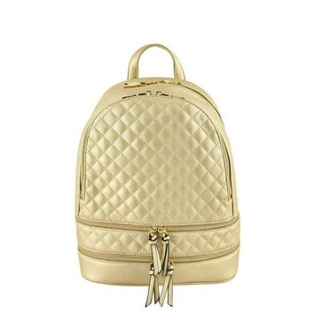 ONETOW Gold Metallic Quilted Backpack