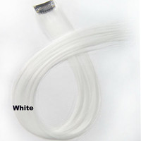 """1 pcs 22"""" Straight Hair Price,White New Highlight Straight Ombre Colorful Candy Colored Colorful single Clip On In synthetic Hair Extension Hair piece"""