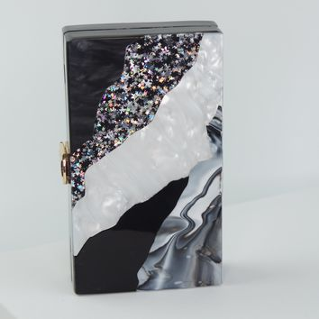 Marble Acrylic Clutch 60'S Evening Bag Purses