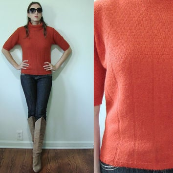 Vintage PUMPKIN Orange 1960s Fitted Turtle Neck Sweater Juno Small Medium