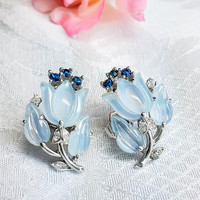 Crown Trifari Alfred Philipe Tulip Earrings, Fruit Salad Trifari Earrings Pale Blue Moonstone Cluster Clip, Bridal Jewelry Bride