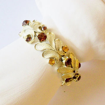 Vintage Bracelet signed Coro Sterling Leaves Amber Brown Rhinestones Fall Wedding Jewelry Jewellry Mid Century Gift for Her