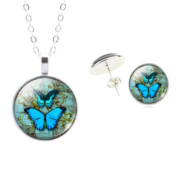 Sterling Silver Jewelry Set Butterfly Art Picture Glass Pendant Chain Necklace Earrings Set For Women Accessories Fine Jewelry