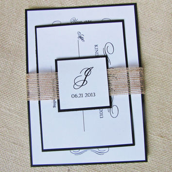 Modern Rustic Shinny Burlap Ribbon And Tag Wedding Invitation