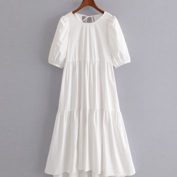 The new women's temperament was thin asymmetrical poplin dress