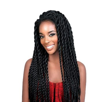 Feibin Lace Front Afro Twist Braided Wigs For Black Women Mambo Full Head Wig B33