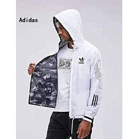 ADIDAS Fashion Hooded Zipper Cardigan Sweatshirt Jacket Coat Windbreaker Sportswear Black