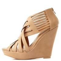 Tan Strappy Crisscrossing Wedge Sandals by Charlotte Russe