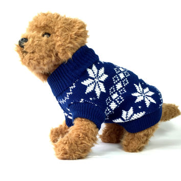 Navy Blue Snowflake Knit Dog Sweater