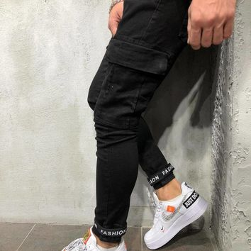 Skinny Cargo Jeans Touch Fasteners - Black