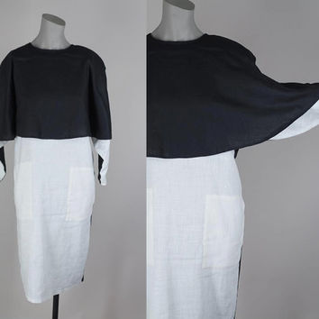 SALE Vintage 80s Dress / 1980s Designer Yeohlee Black and White Colorblock Linen Cape Dress XS S