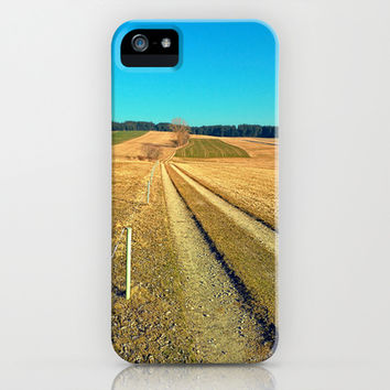 Hiking trail, blue sky and moon | landscape photography iPhone & iPod Case by Patrick Jobst
