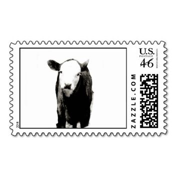 Baby Black Calf Postage Stamp in Black and White