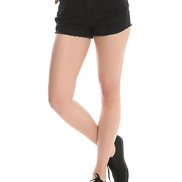Blackheart Black Destructed High-Waisted Shorts