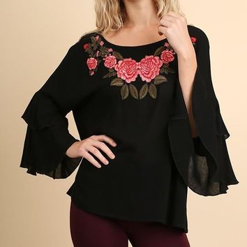 Embroidered Top - Black