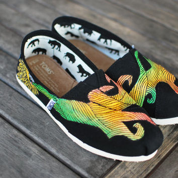 Custom Hand- Painted Black Canvas Classic Toms shoes featuring Rasta Lion blowing red yellow green smoke. - customizable
