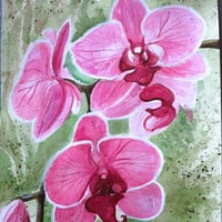 Magenta Orchid Green and Pink Original Watercolor Painting