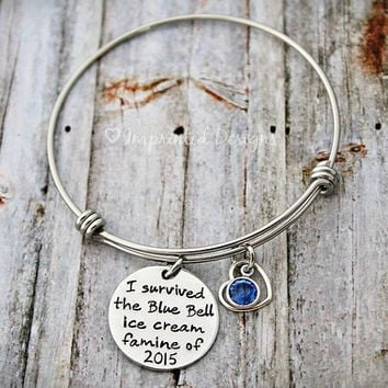 Alex Ani Bracelet Style Bracelet - Personalized - Bangle - Birthstone - Blue Bell - Hand Stamped - Adjustable - Expandable - Funny