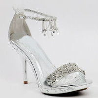 Silver Shoes, Dress shoes, Prom Sandals, Eveningshoe -500 - 26