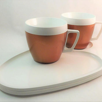 Set of 2 Cups and Plates, Vintage Plastic Lunch Set, Bronze Coffee Cup, West Bend Thermo Serv Set, Mid Century Hot Cup, Plastic Tea Cup