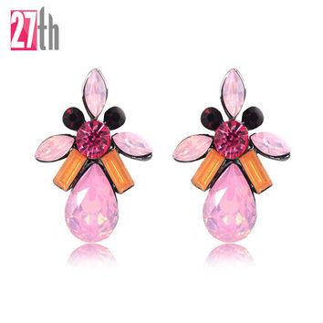 2016 New Fashion Opal Stone Stud Earrings Women Elegant Crystal Earring Trendy Gold Plated Earrings Women Jewelry 7 Colors