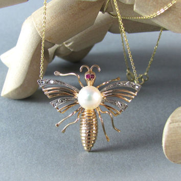 ART DECO butterfly gold charm necklace, antique diamond and pearl necklace, wedding necklace for bride, dolid gold necklace.
