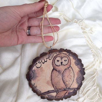"Owl Wall Hanging - Woodland Creature 5"" Tree Slice / Handmade Decor / Natural Wood / Baby Room / Shower Gift / New Baby Gift"