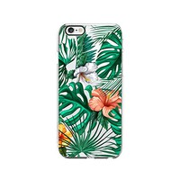 Tropical Leaves Hibiscus Pattern Transparent Silicone Plastic Phone Case for iphone 7 _ LOKIshop (iphone 7)