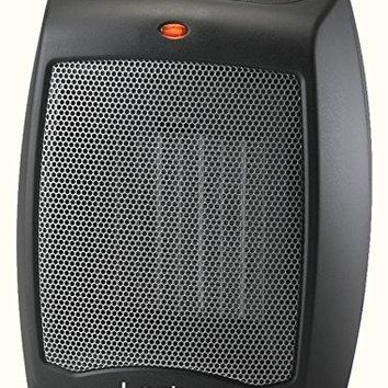 CD09250 Ceramic Heater with Adjustable Thermostat Tabletop Or Under-Desk, Black