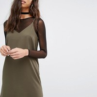 River Island | River Island 2 In 1 Cami Dress With Mesh Top at ASOS