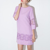 Purple Lace Sleeve Shift Dress