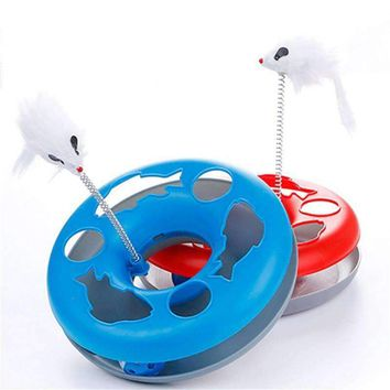 Pet Cat Toys Single - layer  Kettle Spring Mice Crazy Amusement Disk Multifunctional Disk Play Activity