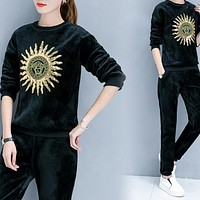 Versace Top Sweater Pullover Pants Trousers Set Two-Piece Sportswear Thick Black