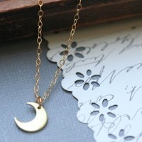 Crescent Moon Necklace - Gold Moon Charm 14 K Gold Fill Chain (Available in Cooper & Sterling Silver)