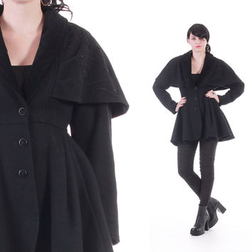 Black Wool Cape Coat Fit and Flare Draped Embroidered Goth Winter Vintage Outerwear 80s 90s Clothing Womens Size Small