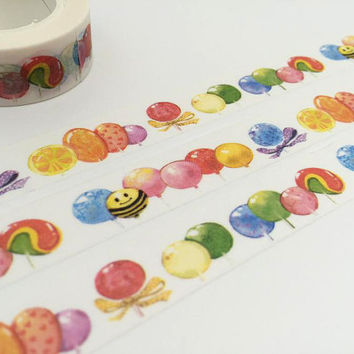 balloon confetti tape 10M colorful balloon washi tape bee balloon air balloon multi color ball deco sticker tape balloon party tape gift