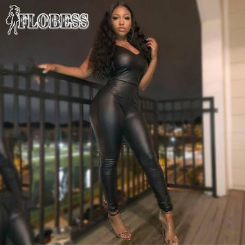 FLOBESS New Europe US Women Fashion Bodycon PU Leather Jumpsuit Lady Sexy V Neck Black Skinny Club Rompers