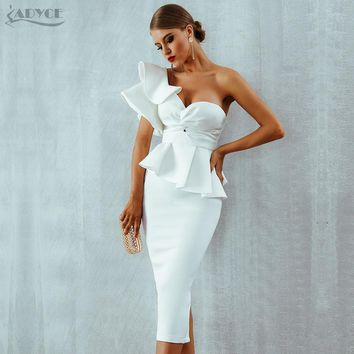 One Shoulder Short Sleeve Bodycon Strapless Celebrity Evening Party Dress