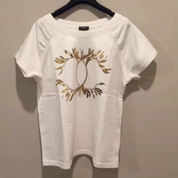 Chanel Gold bronzing Wheat Short sleeve T-shirt