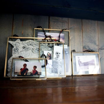 Antique Brass Recycled Metal & Glass Hanging Picture Frame