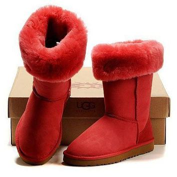 UGG Trending Women Men Winter Warm Snow Boots Classic Boots Wool Fur Boots High Boots Shoes Red I