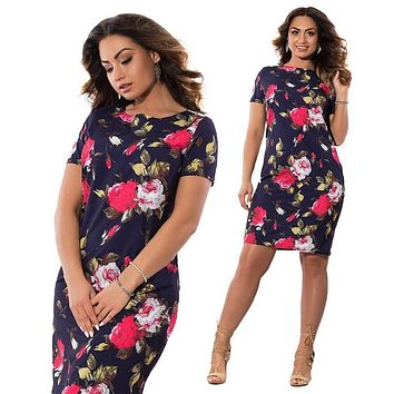 Big Size Elegant Plus Size Autumn Print Dress
