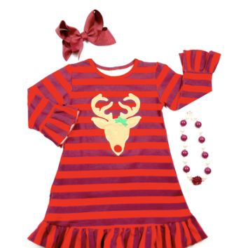 RTS Burgundy and Red Reindeer Dress D32
