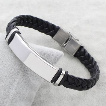 YYW New Women Male Friend Stainless Steel Jewelry Bracelet PU Leather Braided Cord Silicone Rubber Wristband Bracelet Bangles