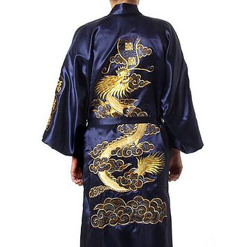 Hot Sale Navy Blue Chinese Men s Silk Satin Robe Embroider Kimono Bath Gown  Dragon Size S M L 8d0611a64