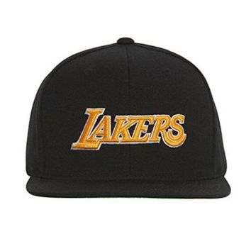 ONETOW Los Angeles Lakers Mitchell and Ness NBA Current Wool Solid 2 Snapback Cap (Black)