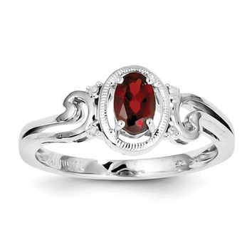 Sterling Silver Oval Garnet and Diamond Accented Ring
