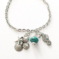 Beach Charm Jewelry - Nautical Beach Jewelry - Sea Horse Charm - Sea Shell Charm - Turquoise Jewelry - Stainless Steel Bracelet